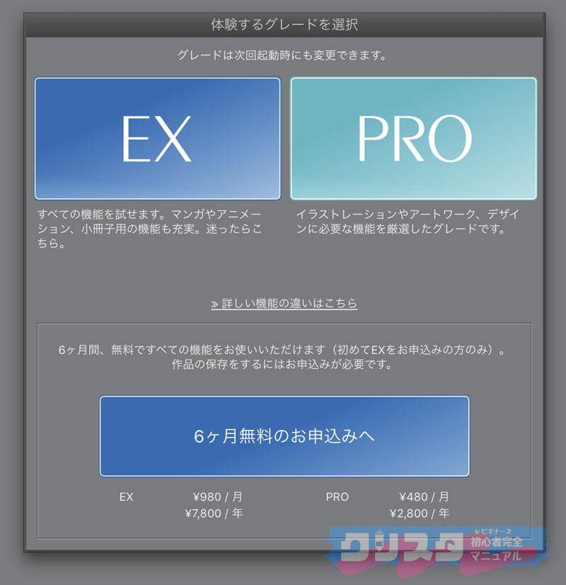 クリスタ ソフト 違い PRO EX